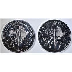 2-2012 AUSTRIA PHILHARMONIC 1-oz SILVER COINS