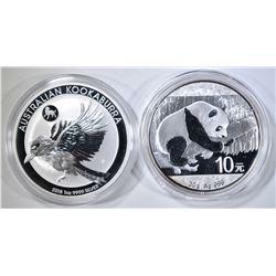 2018 KOOKABURRA & 2016 PANDA  SILVER COINS