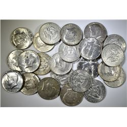 24-MIXED DATE 40% SILVER KENNEDY HALF DOLLARS