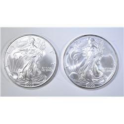 2-BU 2005 AMERICAN SILVER EAGLES
