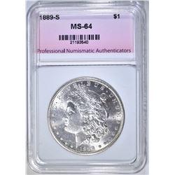 1889-S MORGAN DOLLAR, PNA CH/ GEM BU