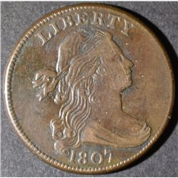 1807 LARGE CENT SMALL FRAC  CH XF
