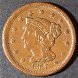 1857 LARGE CENT  SMALL DATE XF/AU