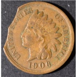 1906 INDIAN HEAD CENT  XF  DOUBLE CLIP  RARE