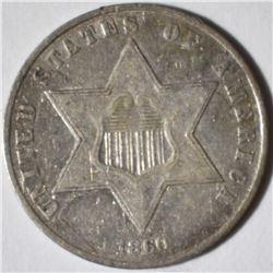1860 3-CENT SILVER  XF/AU