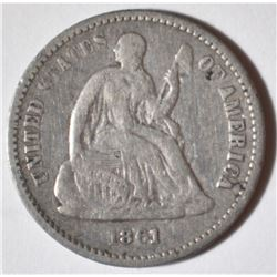 1861 SEATED HALF DIME  XF