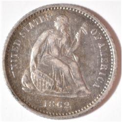 1862 SEATED HALF DIME  AU
