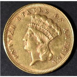 1878 $3 GOLD INDIAN PRINCESS  NICE BU