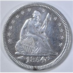 1854 SEATED LIBERTY QUARTER  AU/BU