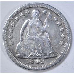 1849 SEATED LIBERTY HALF DIME  AU/BU