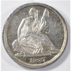 1837 NO STARS SEATED LIBERTY HALF DIME BU