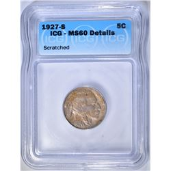 1927-S BUFFALO NICKEL  ICG MS-60 DETAILS