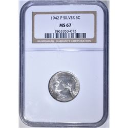 1942 SILVER JEFFERSON NICKEL  NGC MS-67