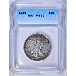 1916 WALKING LIBERTY HALF DOLLAR  ICG MS-62