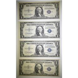 4 1935-G $1 SILVER CERTIFICATES GEM CU