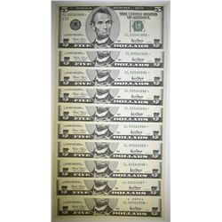 10 2001 $5 NOTES SAN FRANSISCO ALL ARE STAR NOTES