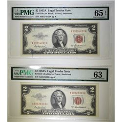 2-PMG GRADED 1953A $2.00 RED SEAL NOTES