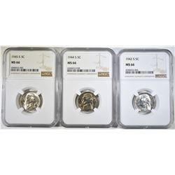 1942-S, 44-S, 45-S SILVER JEFFERSONS NGC MS-66