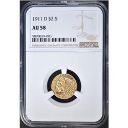 1911-D STRONG D $2.5 GOLD INDIAN NGC AU-58