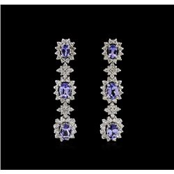 4.48 ctw Tanzanite and Diamond Earrings - 14KT White Gold