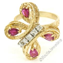 Vintage Detailed 14kt Yellow Gold 1.35 ctw Pear Ruby Round Diamond Open Butterfl
