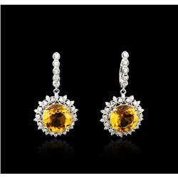 14KT White Gold 15.20 ctw Citrine and Diamond Earrings