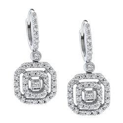 14k White Gold 1.00 ctw Diamond Earrings, (I1-I2/H-I)