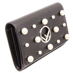 Fendi Black Leather Pearl Flap Clutch