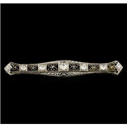 0.87 ctw Diamond Brooch - 18KT White Gold