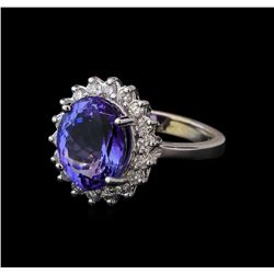 5.18 ctw Tanzanite and Diamond Ring - 14KT White Gold