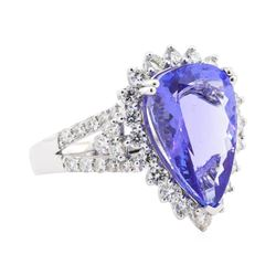 6.30 ctw Tanzanite and Diamond Ring - Platinum