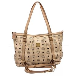 MCM Cream Visetos Coated Canvas Leather Medium Satchel Tote Bag