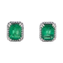 3.71 ctw Emerald and Diamond Earrings - Platinum