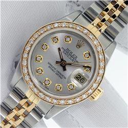 Rolex Ladies 2 Tone Silver Diamond Datejust Wristwatch With Rolex Box