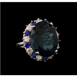 14KT White Gold 20.82 ctw Topaz, Sapphire and Diamond Ring