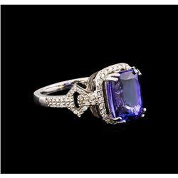 14KT White Gold 3.40 ctw Tanzanite and Diamond Ring