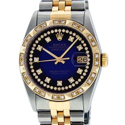 Rolex Mens 2 Tone Blue Vignette String Pyramid Diamond Datejust Wristwatch