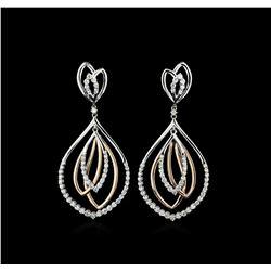 1.83 ctw Diamond Earrings - 14KT Rose and White Gold