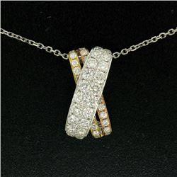 NEW 18k Tri-Color Gold X Pendant w/ 2.18 ctw F VS Pave Round Brilliant Diamonds