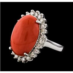 9.80 ctw Coral and Diamond Ring - 14KT White Gold