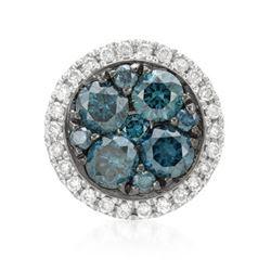 14k White Gold 0.46CTW Diamond and Blue Diamonds Pendant, (SI/H)