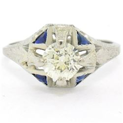 Antique Art Deco 20kt White Gold Diamond and Sapphire Engagement Ring