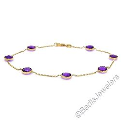 14kt Yellow Gold 5.25 ctw Bezel Set Amethyst by the Yard Cable Link Chain Bracel