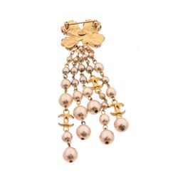 Chanel Gold Clover CC Pearl Dangle Brooch Pin