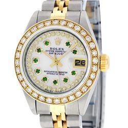 Rolex Ladies 2 Tone Quickset 18K MOP Emerald String Diamond Datejust Wristwatch