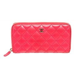 Chanel Pink Quilted Lambskin Leather Zippy Wallet