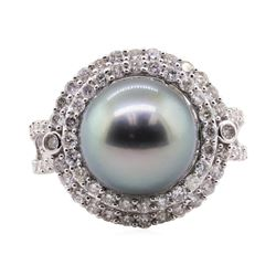 Tahitian Pearl and Diamond Ring - 18KT White Gold