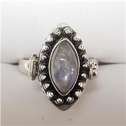 Silver Moonstone Locket Ring - Retail $250