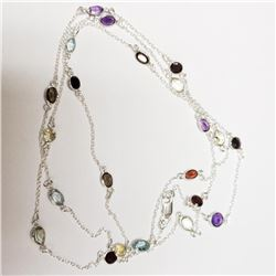 Silver Amethyst Garnet Citrine Necklace - Retail $300