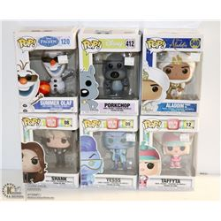 LOT OF 6 ASSORTED FUNKO POPS; DISNEY VARIETY PACK